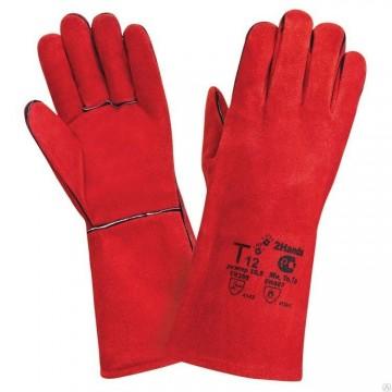 Краги сварщика пятипалые спилковые (Красные)